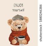 enjoy yourself slogan with bear ...   Shutterstock .eps vector #1880246386
