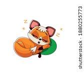 Beautiful Cartoon Fox Sleeping...