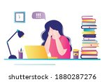 young girl sits at workplace... | Shutterstock .eps vector #1880287276