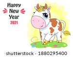 vector ox. hand drawn cute cow. ... | Shutterstock .eps vector #1880295400