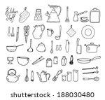 kitchenware. doodle set. | Shutterstock . vector #188030480