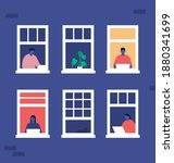 people on the window of the...   Shutterstock .eps vector #1880341699