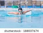 young girl in goggles and cap...   Shutterstock . vector #188037674