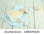 delicate mushroom sauce in bowl ... | Shutterstock . vector #188039630