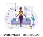 african american woman jumps...   Shutterstock .eps vector #1880402620