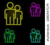 employees neon color set icon....