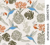 hand draw tropical flower and bird,blossom cluster seamless pattern background