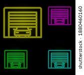 garage car neon color set icon. ...