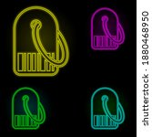 price tag neon color set icon....