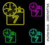 calendar and time neon color...