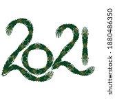 2021 written in christmas holly....   Shutterstock .eps vector #1880486350