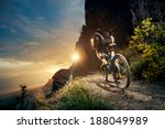 cyclist riding mountain bike on ... | Shutterstock . vector #188049989
