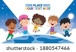 happy multi ethnic kids playing ... | Shutterstock .eps vector #1880547466