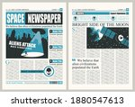 space newspaper with illegible... | Shutterstock .eps vector #1880547613