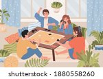 happy smiling friends spending... | Shutterstock .eps vector #1880558260