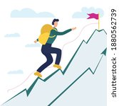 path to reach the goal  victory ...   Shutterstock .eps vector #1880562739