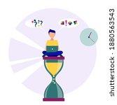 a man sitting on an hourglass...   Shutterstock .eps vector #1880563543