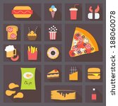 fast food icons set for menu ... | Shutterstock .eps vector #188060078