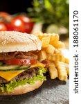 cheeseburger with lettuce ... | Shutterstock . vector #188061170