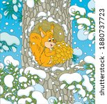 Fluffy Little Red Squirrel With ...