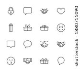 friendship set line icons in... | Shutterstock .eps vector #1880755090