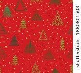 christmas tree snow winter... | Shutterstock .eps vector #1880801503