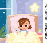 portrait of baby girl lying in...   Shutterstock .eps vector #1880893753