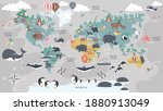 the world map with cartoon... | Shutterstock .eps vector #1880913049