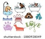 set of pet grooming. collection ... | Shutterstock .eps vector #1880928049