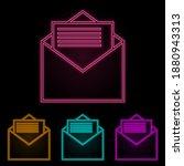 letter in envelope color neon...