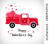 pickup truck with hearts. red... | Shutterstock .eps vector #1880943910