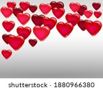 a lot of floating glossy hearts.... | Shutterstock .eps vector #1880966380