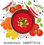 a plate of red tomato soup....   Shutterstock .eps vector #1880975116