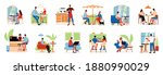 cozy cafe interior icons set...   Shutterstock .eps vector #1880990029
