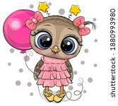 greeting card cute cartoon owl... | Shutterstock .eps vector #1880993980