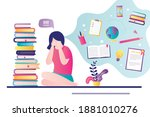 female character worries about...   Shutterstock .eps vector #1881010276