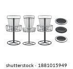 disc golf basket and discs... | Shutterstock .eps vector #1881015949