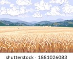 nature scene with field of ripe ... | Shutterstock .eps vector #1881026083