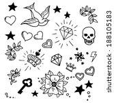 set of old school tattoos... | Shutterstock .eps vector #188105183