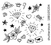 set of old school tattoos... | Shutterstock .eps vector #188105204