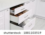 Open Drawers With Cutlery And...