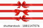 red bow with ribbon isolated on ... | Shutterstock .eps vector #1881147076