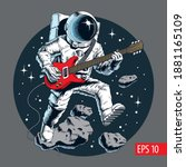 astronaut playing electric... | Shutterstock .eps vector #1881165109