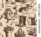 sketch gardening seamless... | Shutterstock .eps vector #188121896