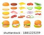 burger food ingredient vector... | Shutterstock .eps vector #1881225259