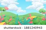 cartoon spring landscape. art... | Shutterstock .eps vector #1881240943