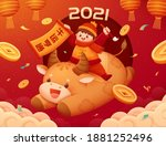 playful boy riding on cute... | Shutterstock .eps vector #1881252496