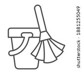 broom and bucket thin line icon ...   Shutterstock .eps vector #1881255049