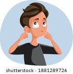 indifferent teen boy covering... | Shutterstock .eps vector #1881289726