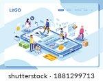 isometric shoping app...   Shutterstock .eps vector #1881299713